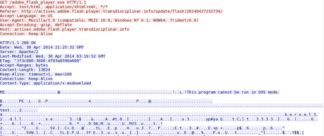 Malware-Traffic-Analysis net - 2014-04-30 - fake Flash player
