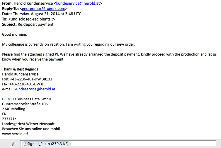 example of the emails seen