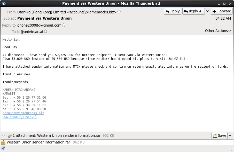 Malware-Traffic-Analysis net - 2014-10-27 - Phishing email