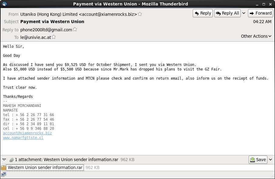 Malware-Traffic-Analysis net - 2014-10-27 - Phishing email - Subject