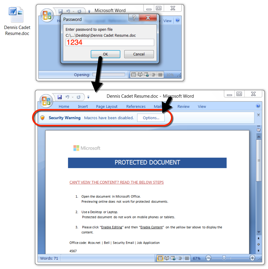 read password protected word document